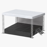 3D outdoor concert stage small model