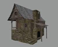 3D medieval town blacksmith house model
