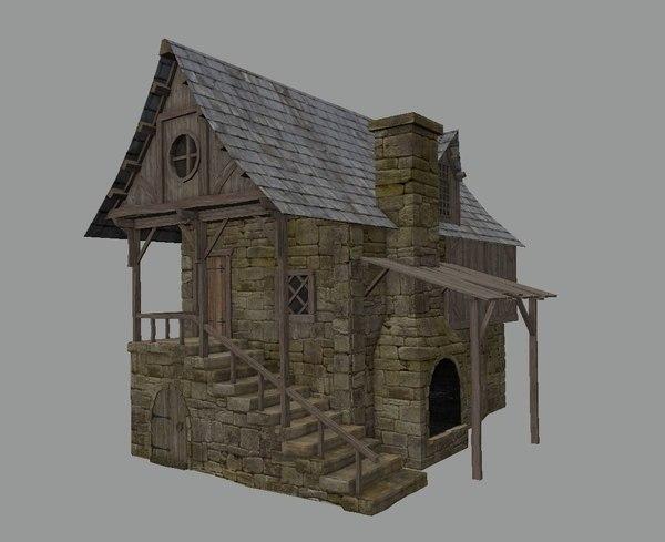 3D medieval town blacksmith house model
