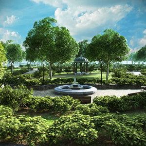 3D model park trees vegetation