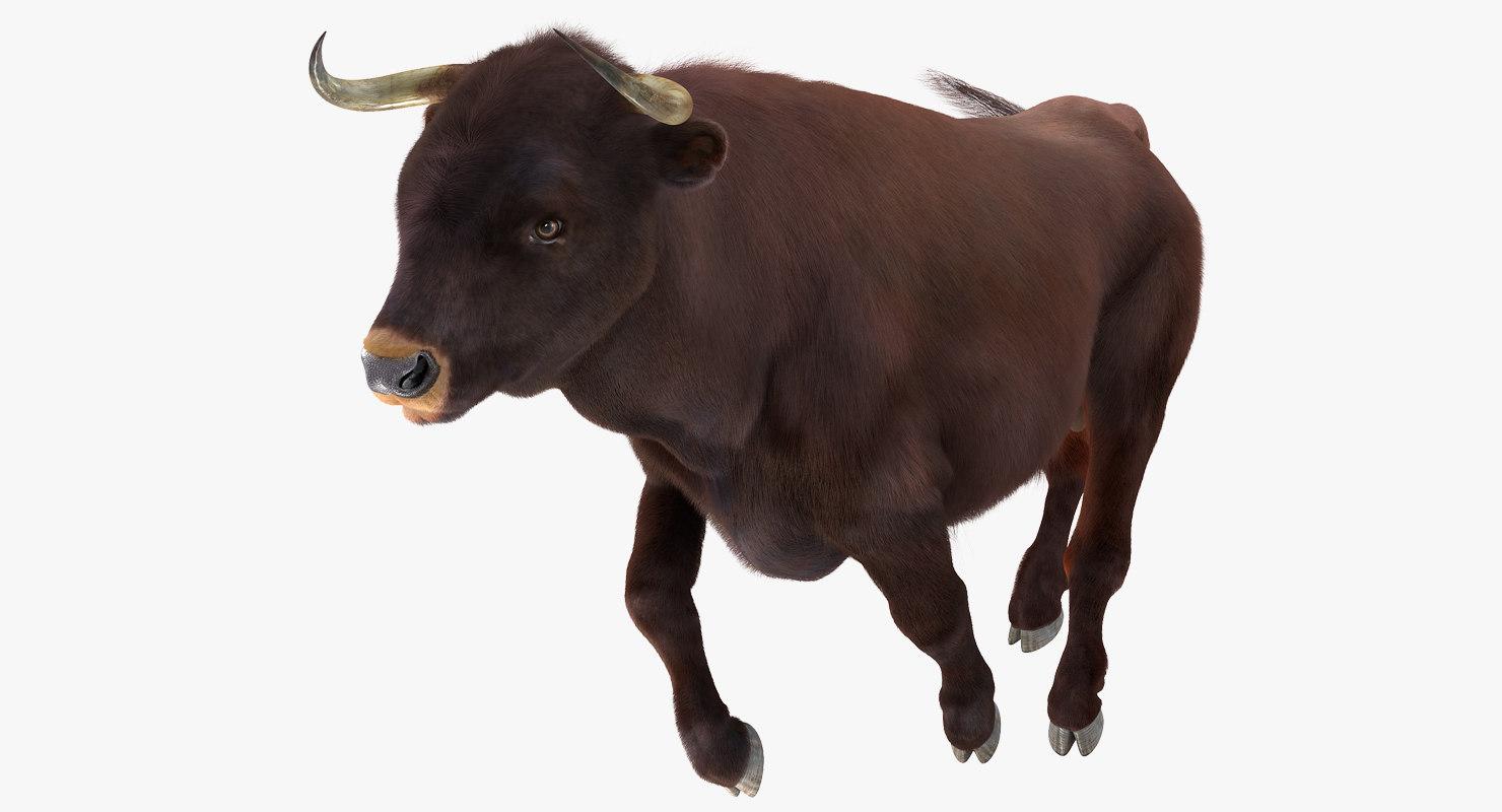3D bull running pose fur
