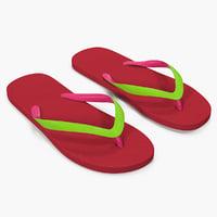 classic flip flops women 3D model