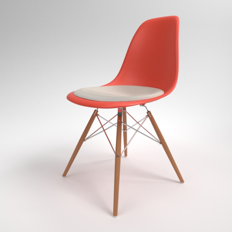 interior vitra eames plastic chair 3D model