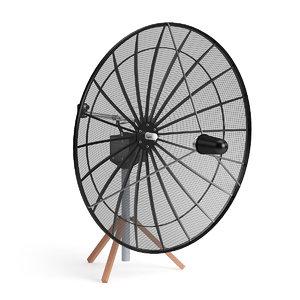 3D model black satellite dish