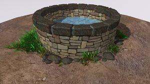 3D grass stone