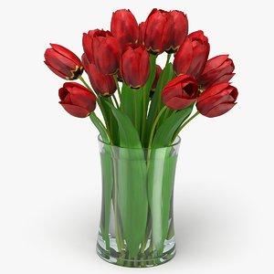 realistic tulip bouquet flowers 3D