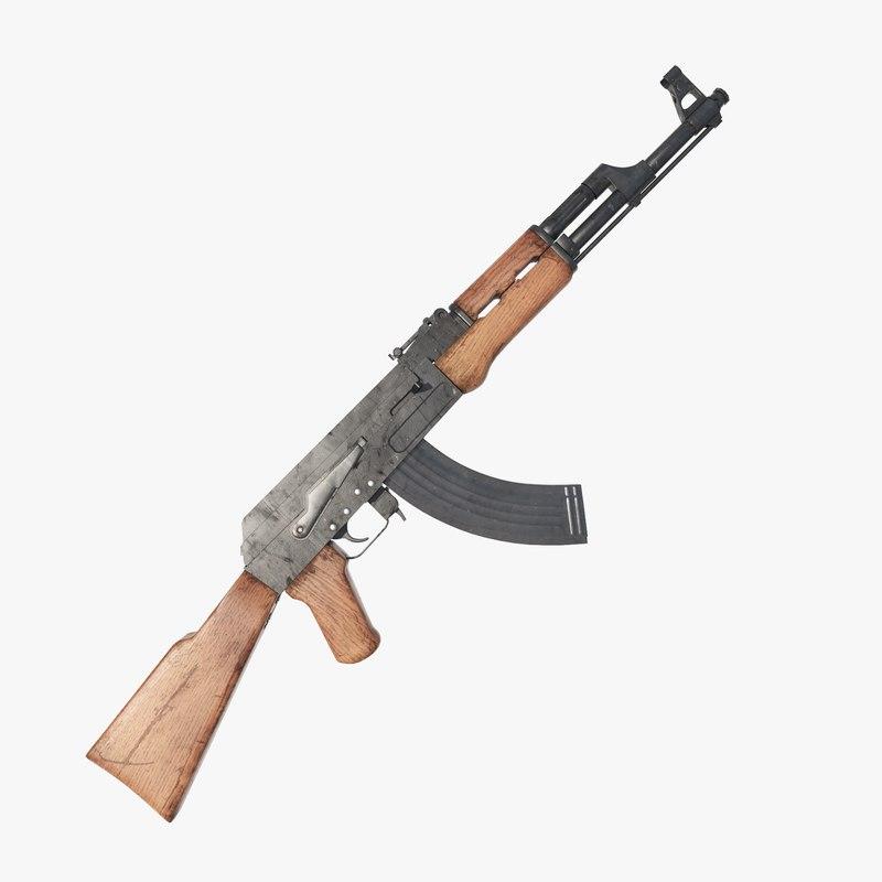3D kalashnikov assault rifle ak model