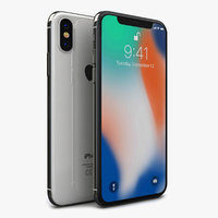 3D model apple iphone x silver
