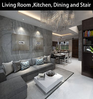 3D living kitchen
