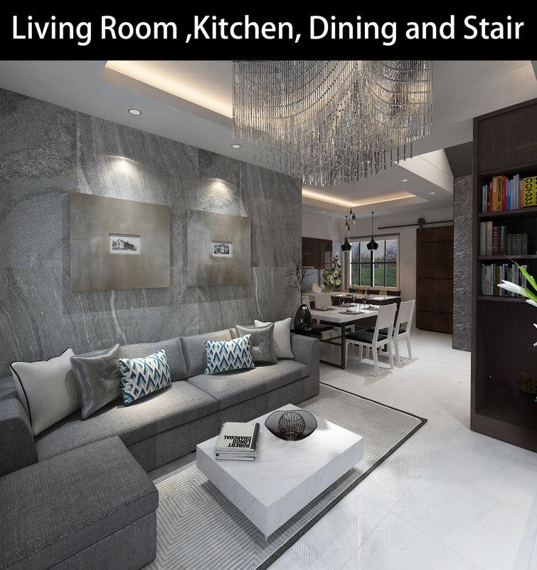 3D living kitchen