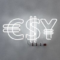 3D neon fluorescent light dollar symbol