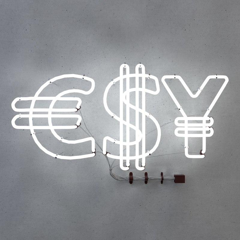 3D neon fluorescent light dollar symbol