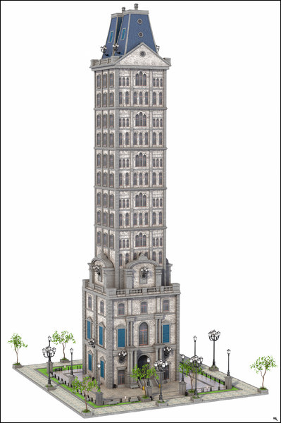 3D old skyscraper sky model