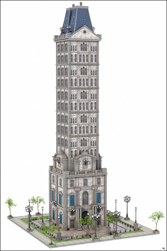 3D old skyscraper sky model