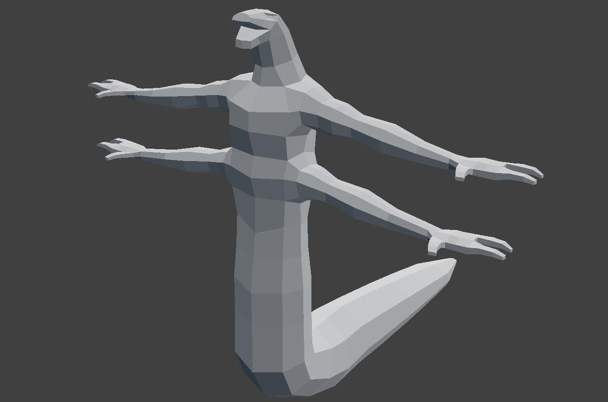 3D model mesh snake-man
