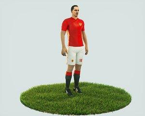 ready football soccer player 3D model