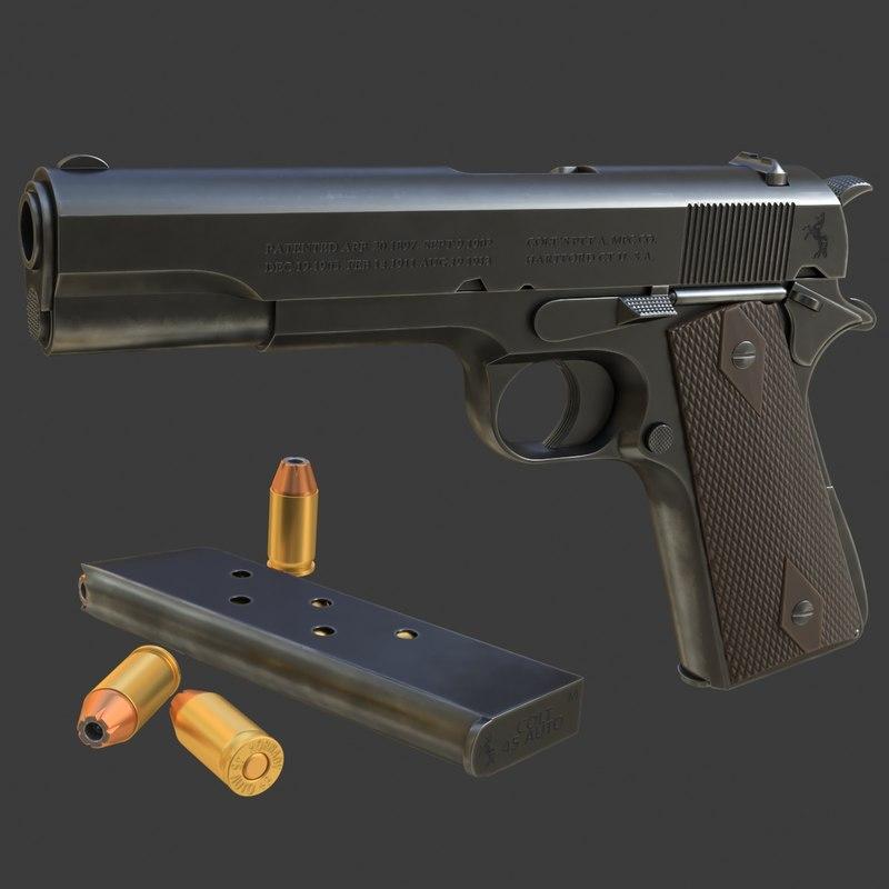 realistic colt 1911a1 02 3D model