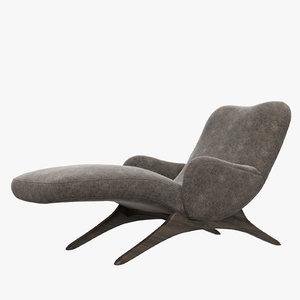 contour chaise lounge vladimir kagan 3D model