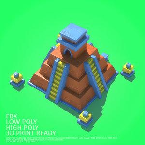 3D cartoon mayan model