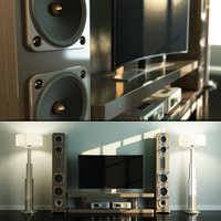 Home Cinema Loudspeaker andHi-Fi Set with Floor Lamps