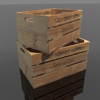 vintage wine crates 3D