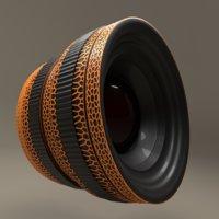 3D model camera lens leopard