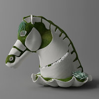 3D sculpture horse moss concrete model
