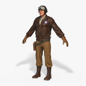world war pilot rigged 3D model