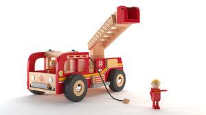 fireman truck wood toy 3D model