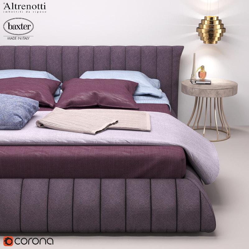 3D bedroom soft bed baxter