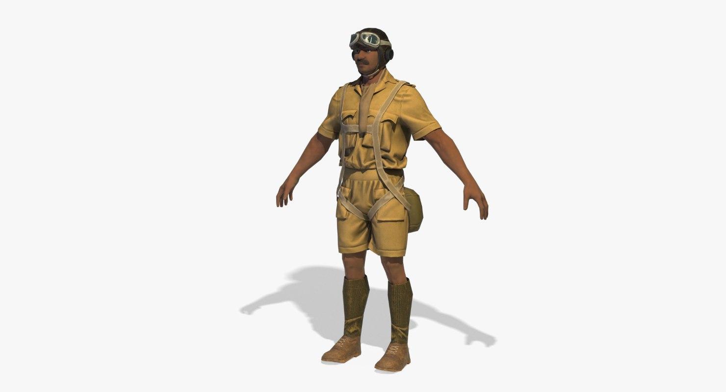 3D world war pilot rigged