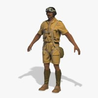 3D world war pilot rigged