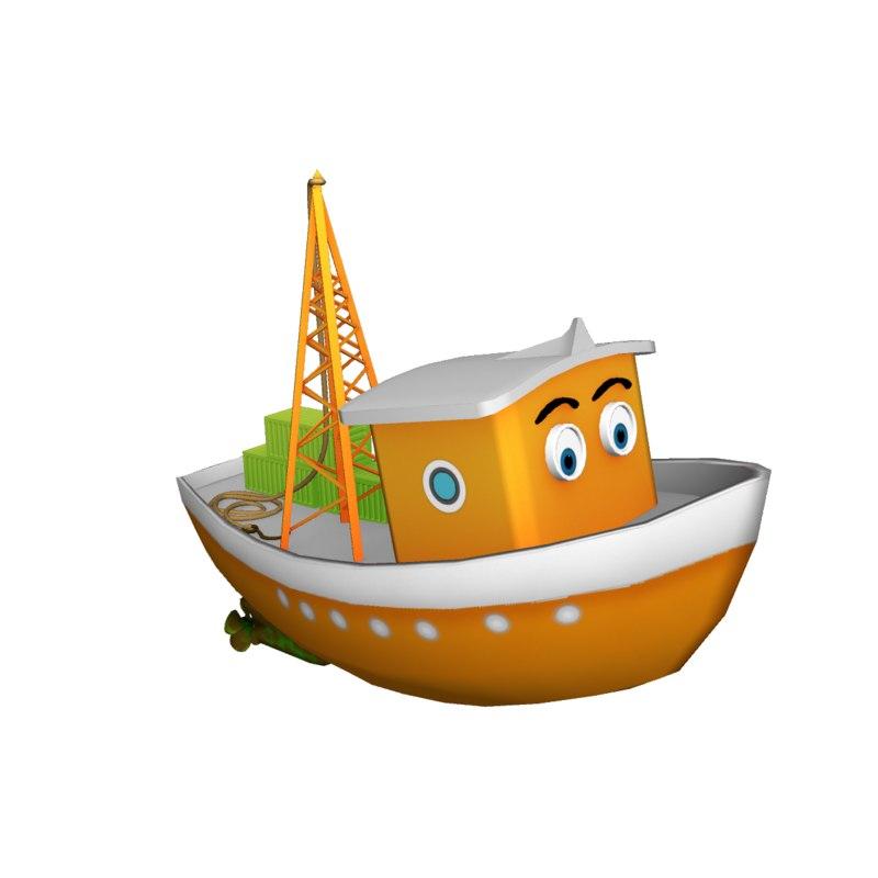 3D cargo boat model