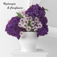 Hydrangea and Cornflowers