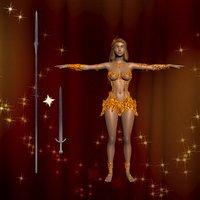 girl warrior golden 3D model