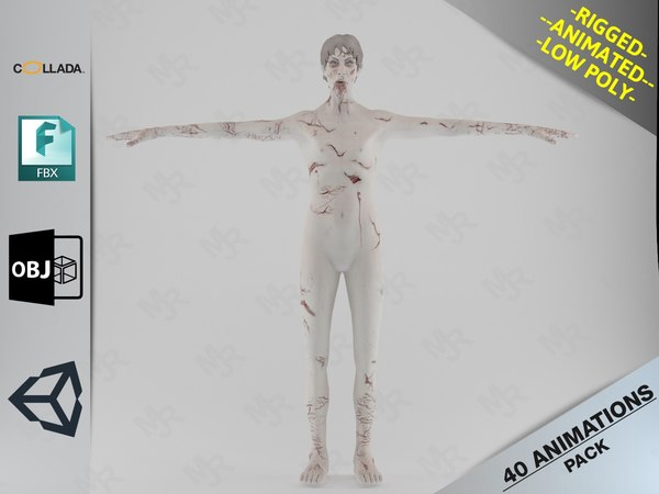 3D male zombie1 animations pack