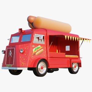 3D hot dog truck model