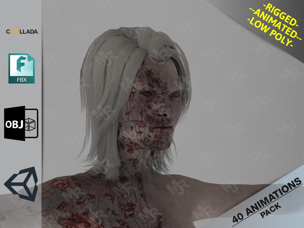 3D female zombie1 animations pack model