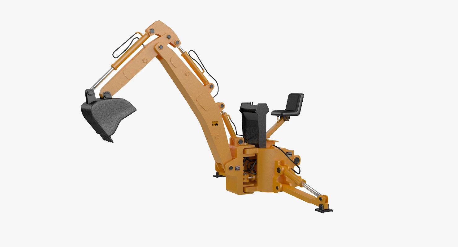 3D model backhoe loader attachment