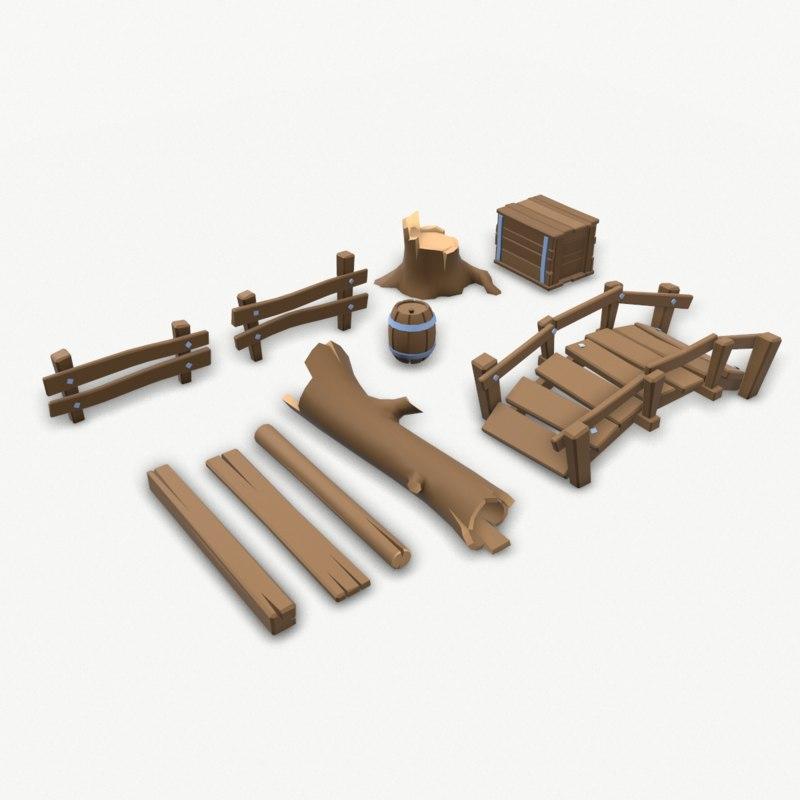 cartoon wood set 3D model