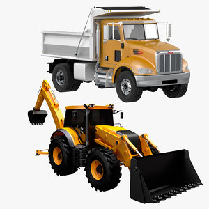 dump truck backhoe loader 3D model