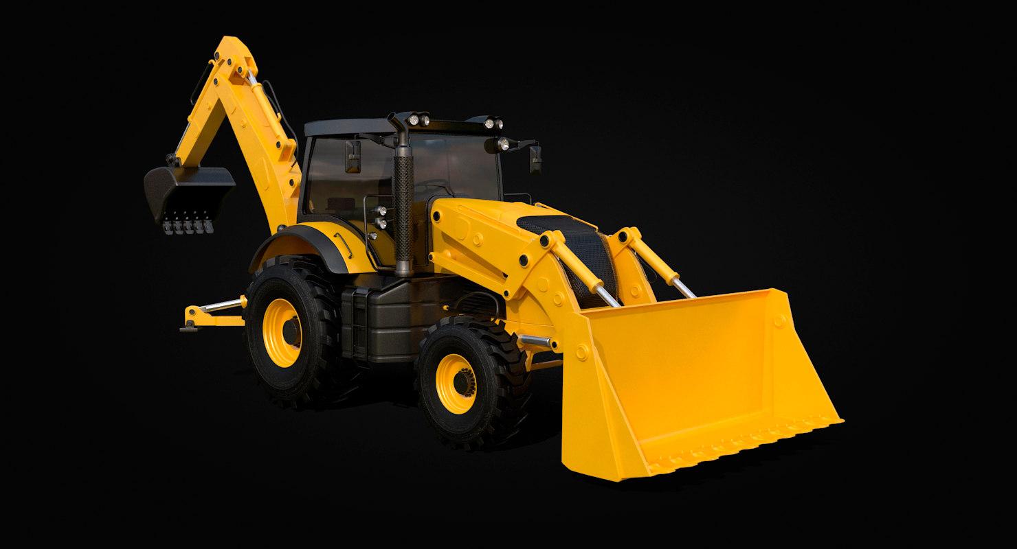 dump truck backhoe loader 3D model