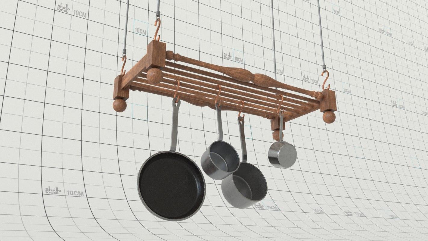 pots pan rack hanging 3D