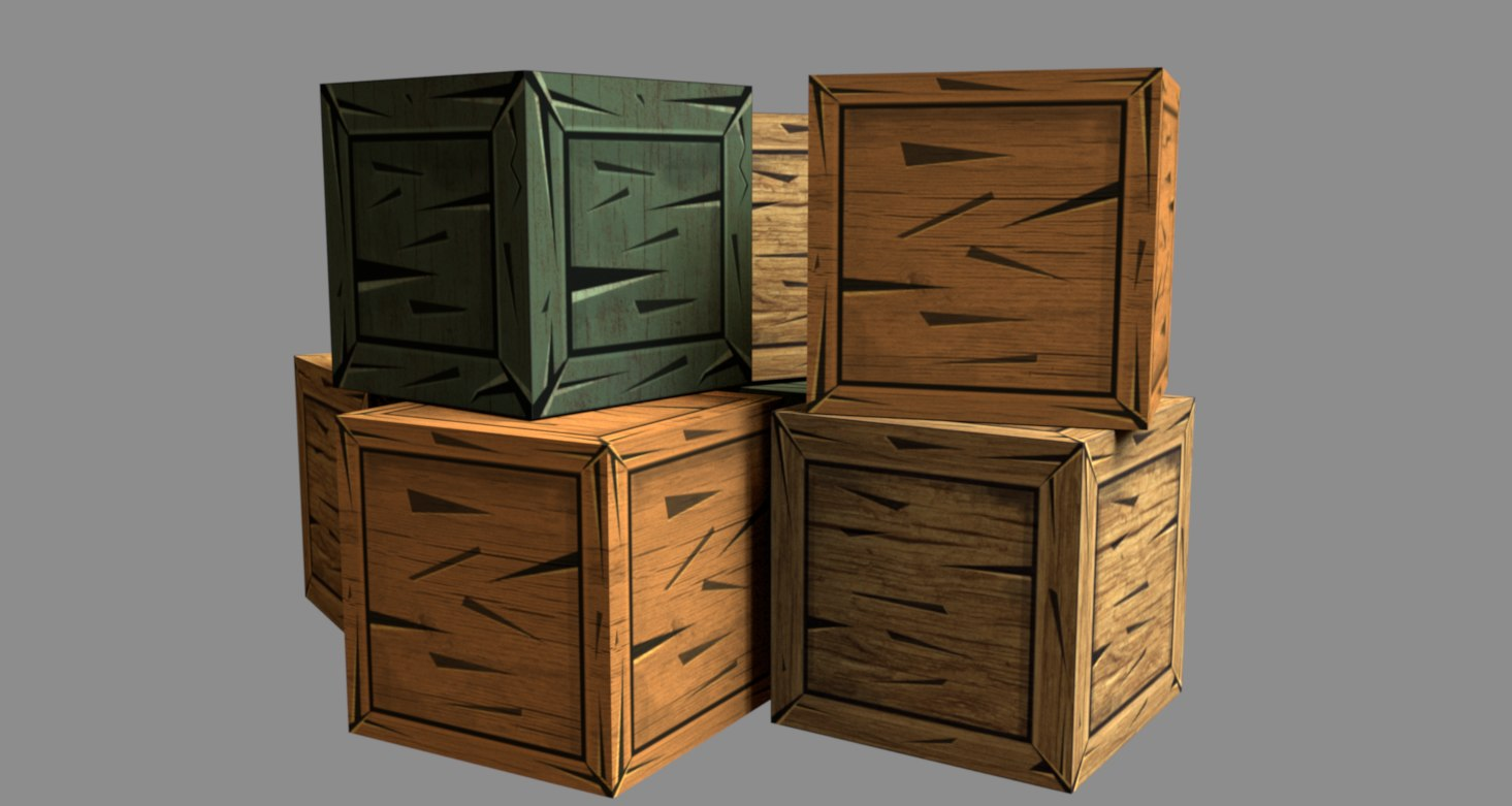 3D model hand painted crate