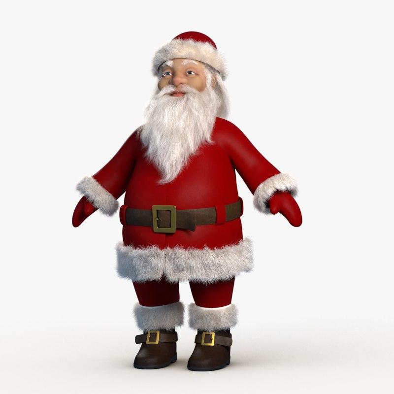3D model cartoon santa claus character
