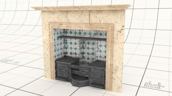 3D victorian antique stove