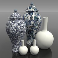 3D china chinese vases