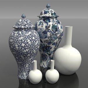 3D china chinese vases
