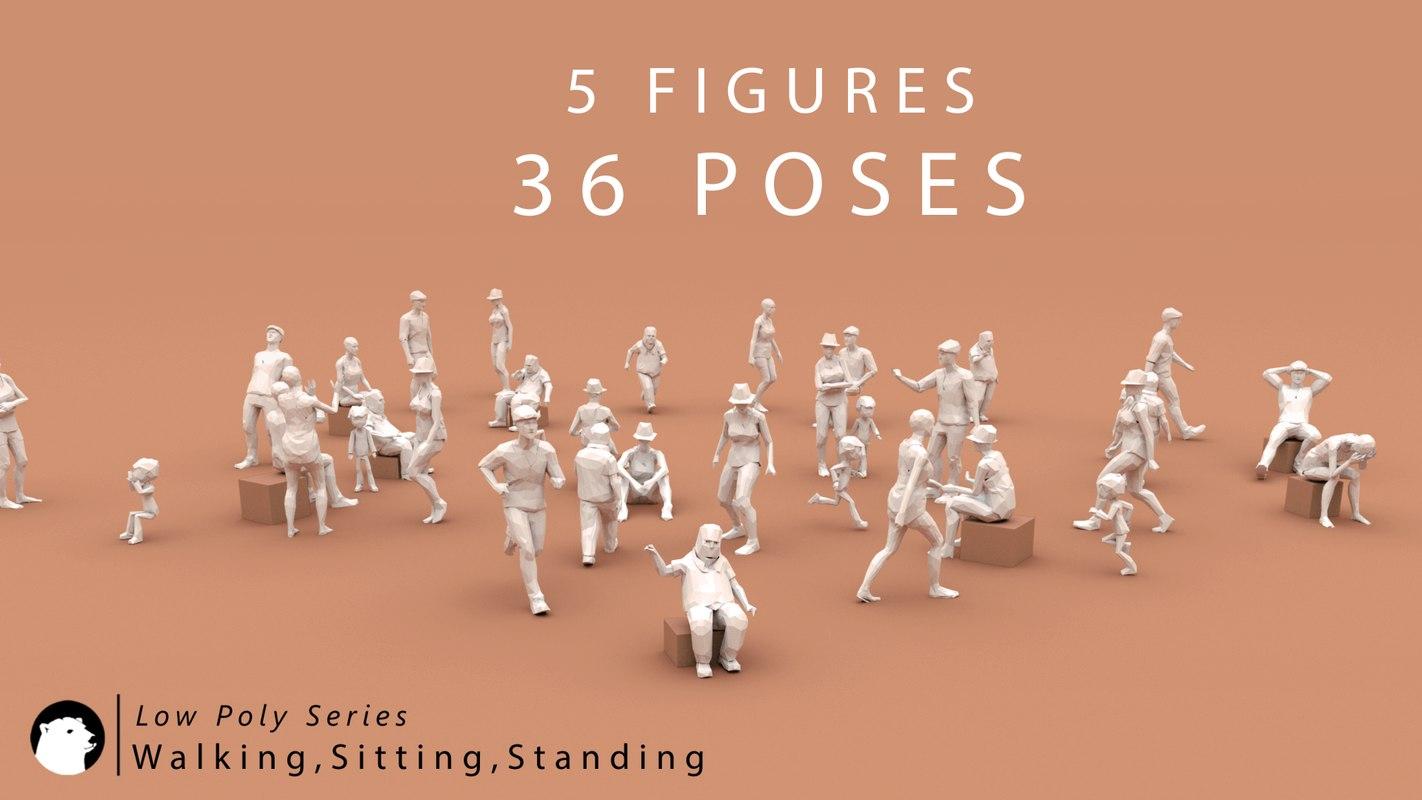 poses walking sitting standing model