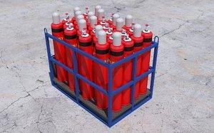 3D gas cylinder pallet model